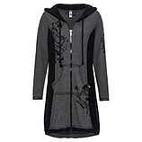 Mantel mit Samt-Flock, schwarz-grau