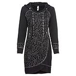 Kleid mit abknöpfbarer Kapuze, schwarz