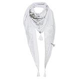 Schal mit Flügel-Print, weiss