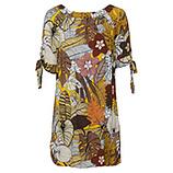 Viskose-Kleid mit Carmen-Ausschnitt, curry