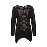 Shirt mit Spitze und Glitzersteinchen, schwarz