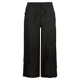 Leinen-Hose im Culotte-Stil, schwarz