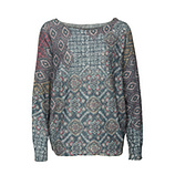 Strickpullover im Alloverprint, grau