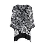 Bluse im Alloverprint, schwarz-weiß