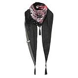 Schal mit Kreuzschnürung, schwarz-cranberry