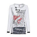 Shirt mit Front-Print, weiss-grau