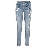 Jeans mit floralem Print 76cm, smokey blue