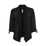 Shirt-Jacke mit Leinen, schwarz