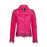 Jeansjacke mit Applikationen, sweetpink