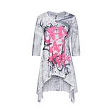 Graffiti - Shirt im Vokuhila-Schnitt, silber-grau