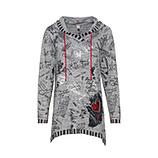 Shirt im Alloverprint, hellgrau-melange