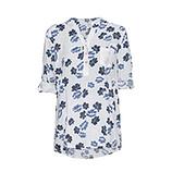 Blumen Bluse im Alloverprint, weiss-blau