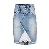 Jeansrock mit Spitze, light blue