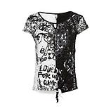 Shirt mit Loch-Optik, schwarz-weiß