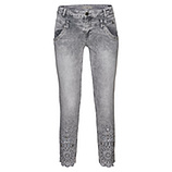 Jeans mit Blumen Stickerei 64cm, light grey