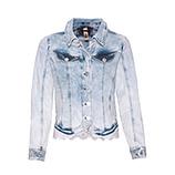 Jeansjacke mit Lochspitze, bleached denim