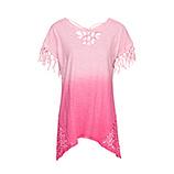 Shirt mit Fransen, pink glow