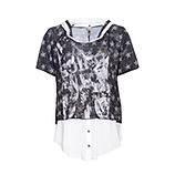 Shirt mit abtrennbarer Kapuze, schwarz-weiß