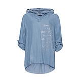 Kapuzen-Bluse aus Lyocell, light blue