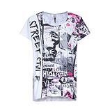 Oversize-Shirt im Alloverprint, schwarz-weiß