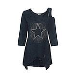 Shirt mit Cut-Outs und Stern Motiv, night