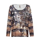 Shirt im Alloverprint und Stern, siena