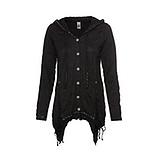 Shirt- Jacke mit Flügel-Print, schwarz