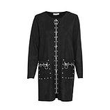 Mantel aus Veggie-Leder in Suede-Optik, schwarz