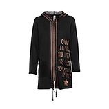 Mantel mit Metallic-Schriftzug, schwarz