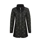 Sweat-Jacke mit Struktur, schwarz-khaki