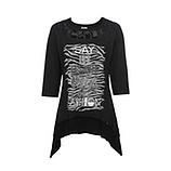 Shirt mit Front-Design, schwarz