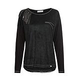 Shirt mit Fransen in Veggie-Leder Suede-Optik, schwarz