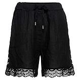 Shorts mit Häkelspitze, schwarz