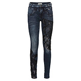Sweat-Jeans mit Spitzenpatch 78cm, dark blue