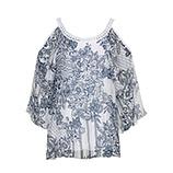 Bluse mit Seide und Cut-Outs, weiß-blau