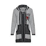 Liebe Shirt-Jacke mit Paillettenherz, hellgrau-melange