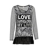 Shirt mit Animal und Herz, grau meliert