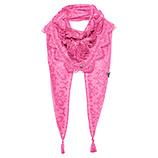 Schal mit Tüll- Spitze, pink glow