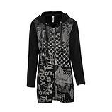 Sweat-Jacke mit Print, schwarz