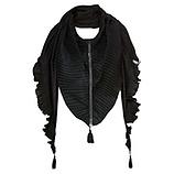 Schal mit Plissee, schwarz
