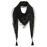 Schal mit Pailletten, schwarz