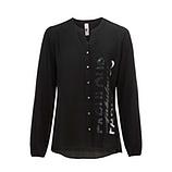 Bluse mit Plissee, schwarz