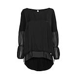 Bluse mit transparenten Einsätzen, schwarz