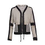 Shirtjacke im Batik-Look und Netz, sand