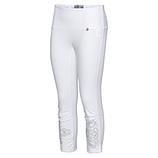 Baumwoll-Leggings mit Glitzerprint, weiß
