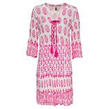 Kleid im Alloverprint, weiß-pink