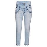 High-Waist Jeans, bleached denim