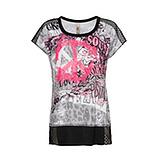 Shirt im Alloverprint, schwarz-weiß-neon lobster