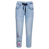 Schlupf-Jeans mit Print, light blue