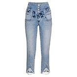 High-Waist Jeans mit Spitze, bleached